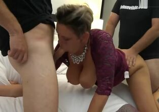 Big ass mature threesome