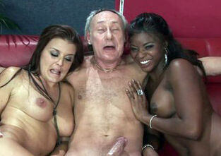 Ebony mature threesome